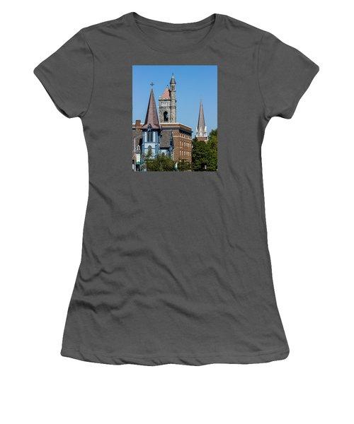 Three Steeples Of St Johnsbury Vermont Women's T-Shirt (Junior Cut) by Tim Kirchoff