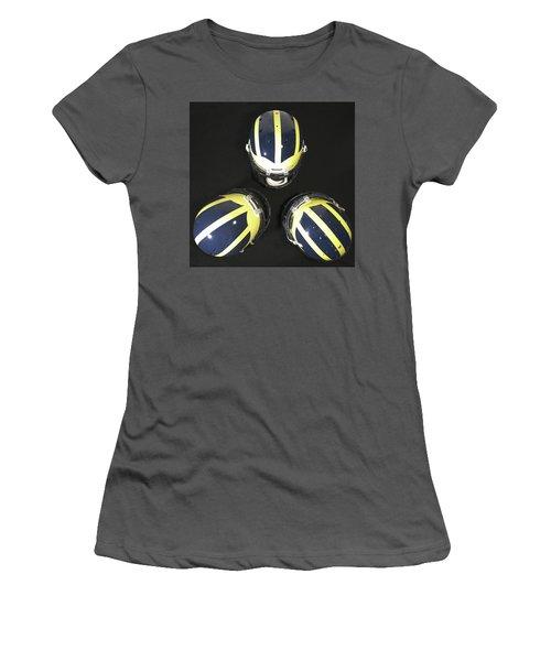 Three Striped Wolverine Helmets Women's T-Shirt (Athletic Fit)