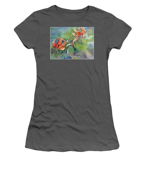 Women's T-Shirt (Junior Cut) featuring the painting Tiger Lilies by Mindy Newman