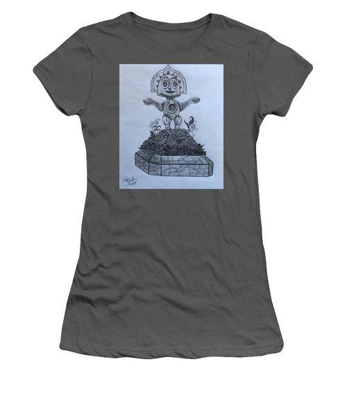 Tiki God Women's T-Shirt (Junior Cut) by Tony Clark
