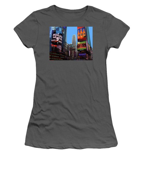 Women's T-Shirt (Athletic Fit) featuring the photograph Times Square 2 by Walter Fahmy