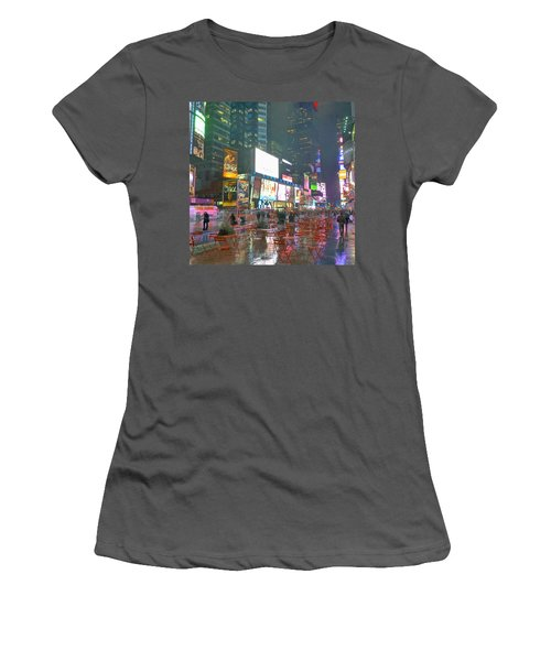 Times Square Red Rain Women's T-Shirt (Athletic Fit)