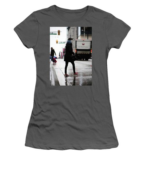Women's T-Shirt (Junior Cut) featuring the photograph Tiny Umbrella  by Empty Wall