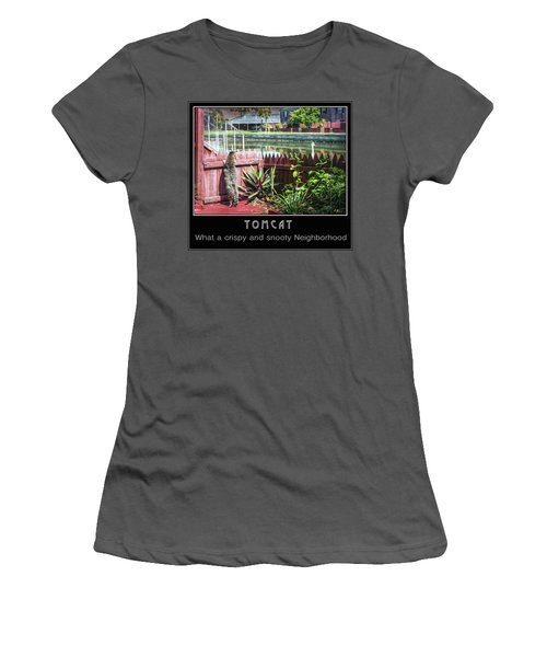 Women's T-Shirt (Athletic Fit) featuring the photograph Tomcat Breakfast by Hanny Heim