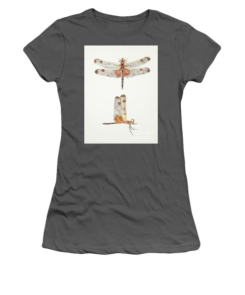 Top And Side Views Of A Male Calico Pennant Dragonfly Women's T-Shirt (Athletic Fit)