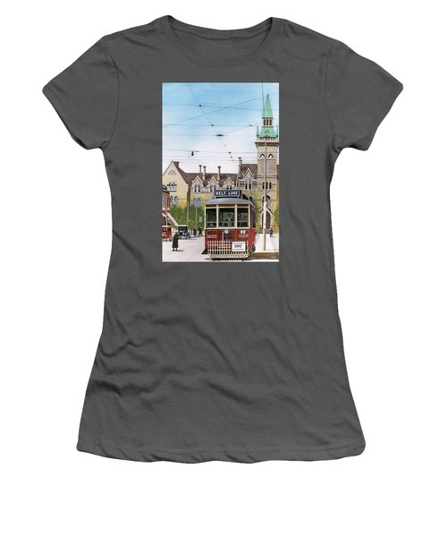 Women's T-Shirt (Junior Cut) featuring the painting Toronto Belt Line by Kenneth M Kirsch