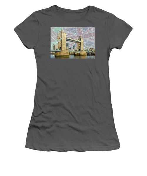 Women's T-Shirt (Junior Cut) featuring the digital art Tower Bridge With Union Jack by Adam Spencer