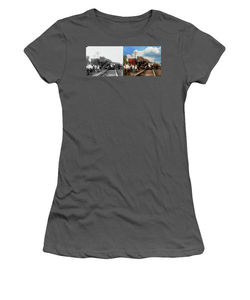 Women's T-Shirt (Junior Cut) featuring the photograph Train - Accident - Butting Heads 1922 - Side By Side by Mike Savad
