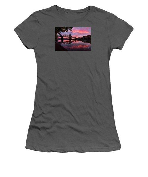 Train Bridge At Sunrise  Women's T-Shirt (Junior Cut) by Emmanuel Panagiotakis