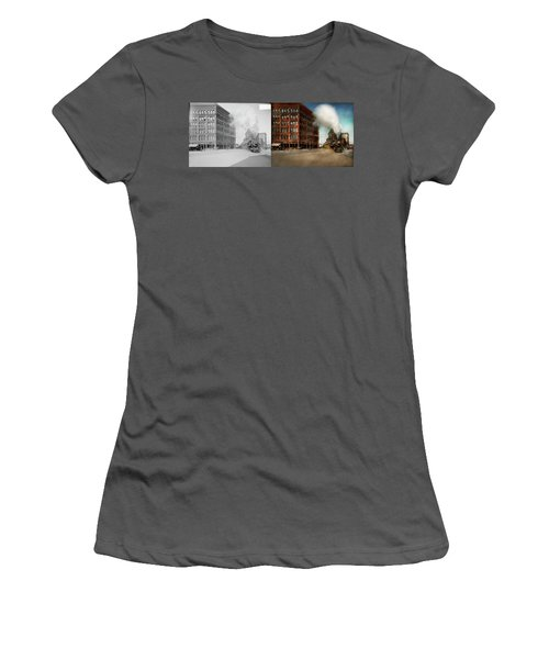 Women's T-Shirt (Junior Cut) featuring the photograph Train - Respect The Train 1905 - Side By Side by Mike Savad