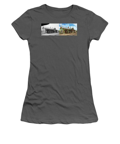 Women's T-Shirt (Junior Cut) featuring the photograph Train Station - Garrison Train Station 1880 - Side By Side by Mike Savad