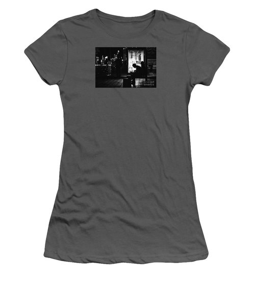 Women's T-Shirt (Junior Cut) featuring the photograph Tram Station Silhouettes by Jivko Nakev