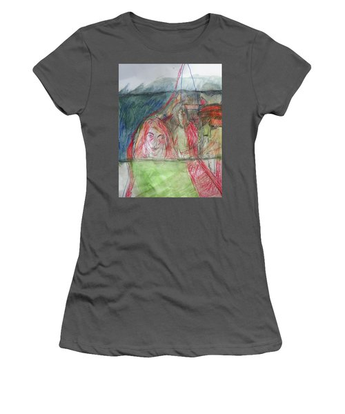 Travelers On The Train Women's T-Shirt (Athletic Fit)