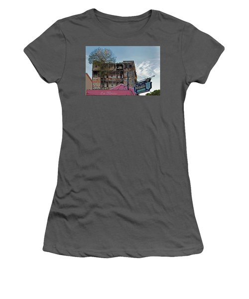 Women's T-Shirt (Athletic Fit) featuring the photograph Tree In Building Over La Floridita Havana Cuba by Charles Harden
