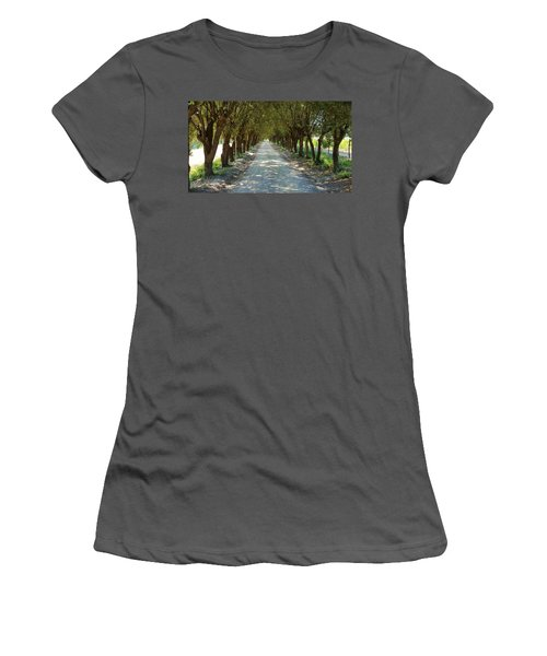Women's T-Shirt (Junior Cut) featuring the photograph Tree Tunnel by Valentino Visentini