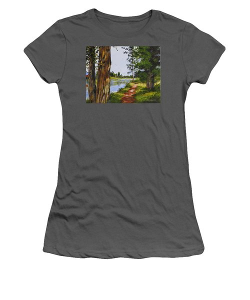 Trees Along The River Women's T-Shirt (Athletic Fit)