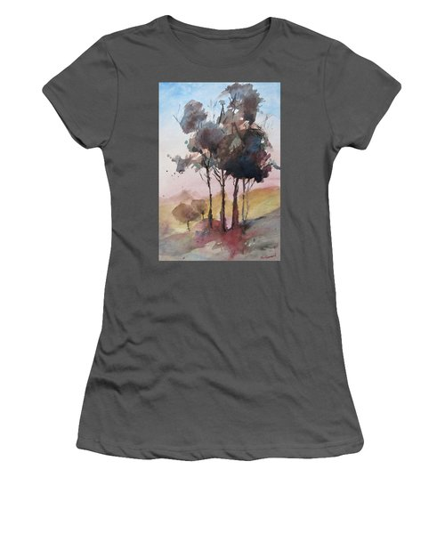 Women's T-Shirt (Junior Cut) featuring the painting Trees by Geni Gorani