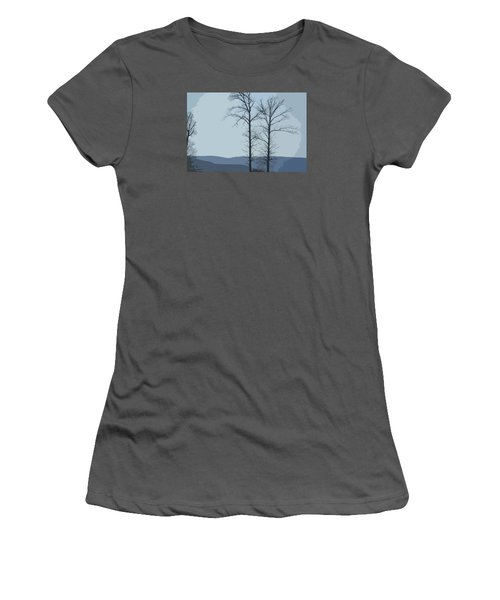 Trees On Blue Women's T-Shirt (Athletic Fit)