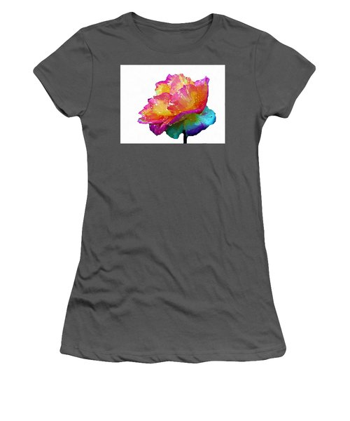 Women's T-Shirt (Junior Cut) featuring the photograph Tri Color Rose by Joseph Frank Baraba