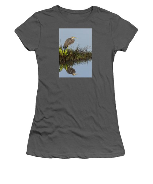 Tri-colored Heron And Reflection Women's T-Shirt (Athletic Fit)