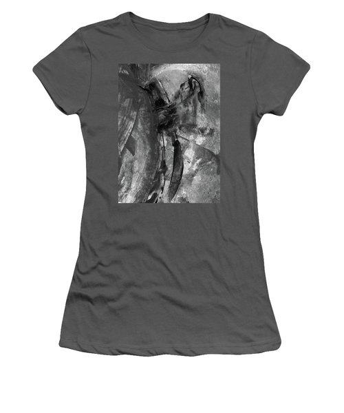 Trojan Horse - Black And White Vertical Painting Women's T-Shirt (Athletic Fit)