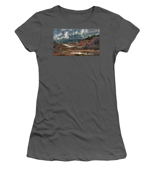 Women's T-Shirt (Athletic Fit) featuring the photograph Trossachs National Park In Scotland by Jeremy Lavender Photography