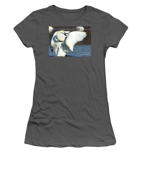 Trumpeter Swan Women's T-Shirt (Junior Cut) by Paula Guttilla