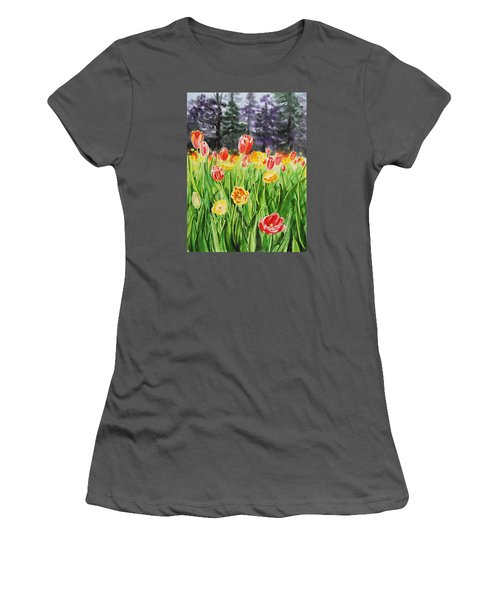 Women's T-Shirt (Athletic Fit) featuring the painting Tulip Garden In San Francisco by Irina Sztukowski