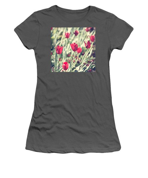 Women's T-Shirt (Junior Cut) featuring the photograph Tulips In Red by Wade Brooks