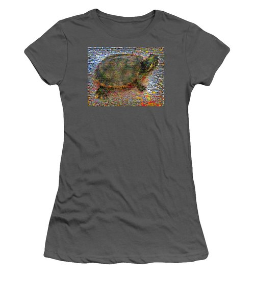 Women's T-Shirt (Junior Cut) featuring the mixed media Turtle Wild Animals Mosaic by Paul Van Scott