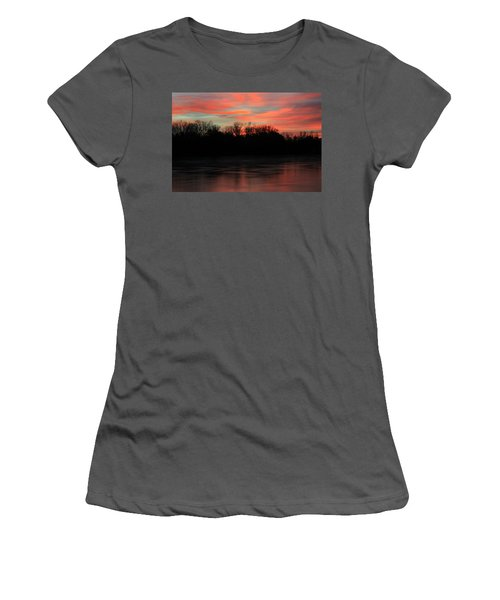 Women's T-Shirt (Junior Cut) featuring the photograph Twilight On The River by Chris Berry