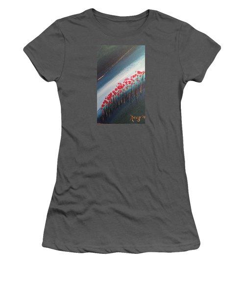 Twilight Poppies Women's T-Shirt (Junior Cut) by Roxy Rich