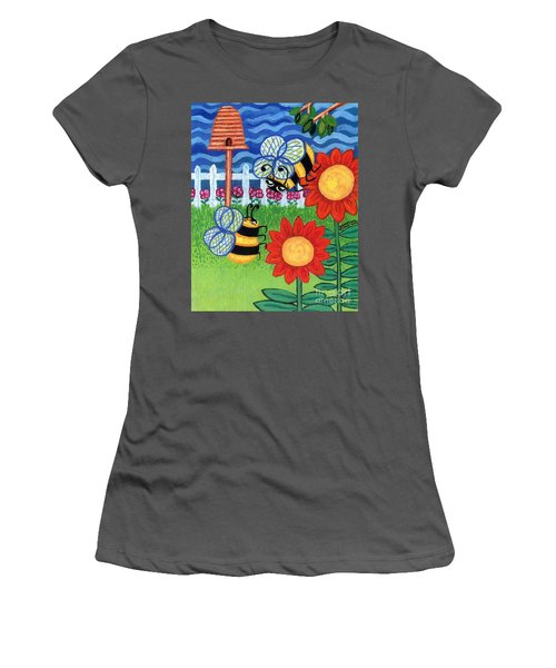Two Bees With Red Flowers Women's T-Shirt (Athletic Fit)