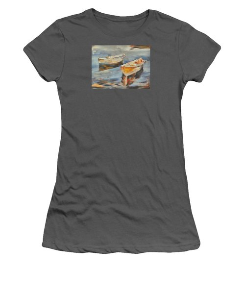 Women's T-Shirt (Junior Cut) featuring the painting Two Boats On A Mooring by Dragica  Micki Fortuna