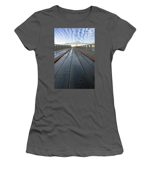 Under Astoria Megler Bridge On Riverwalk Women's T-Shirt (Athletic Fit)