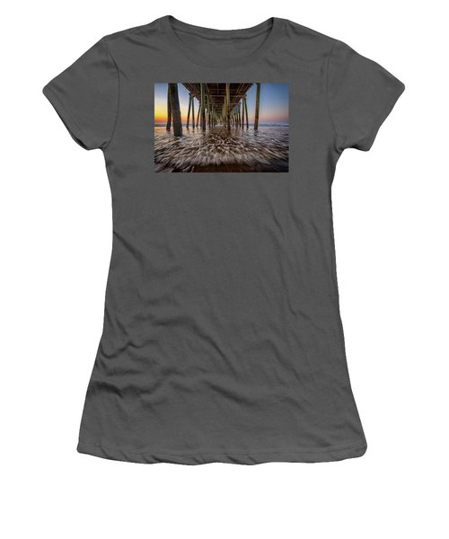Women's T-Shirt (Athletic Fit) featuring the photograph Under The Pier At Old Orchard Beach by Rick Berk