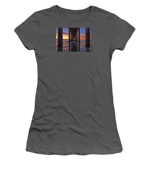 Under The Scripps Pier Women's T-Shirt (Junior Cut) by Sam Antonio Photography