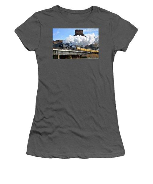 Union Pacific Steam Engine 844 And Castle Rock Women's T-Shirt (Junior Cut) by Eric Nielsen