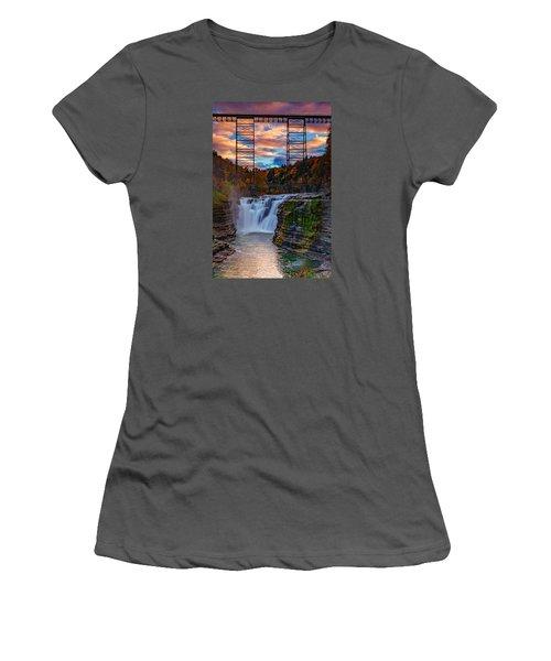 Upper Falls Letchworth State Park Women's T-Shirt (Junior Cut) by Rick Berk