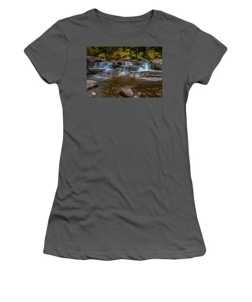 Women's T-Shirt (Junior Cut) featuring the photograph Upper Swift River Falls In White Mountains New Hampshire by Ranjay Mitra