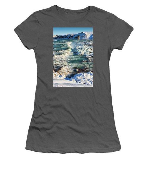 Urridafoss Waterfall Iceland Women's T-Shirt (Junior Cut) by Matthias Hauser