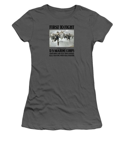 Us Marine Corps - First To Fight  Women's T-Shirt (Junior Cut) by War Is Hell Store