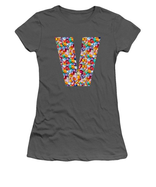 V Vv Vvv Jewels Alpha Art On Shirts Alphabets Initials   Shirts Jersey T-shirts V-neck   Navinjoshi  Women's T-Shirt (Athletic Fit)