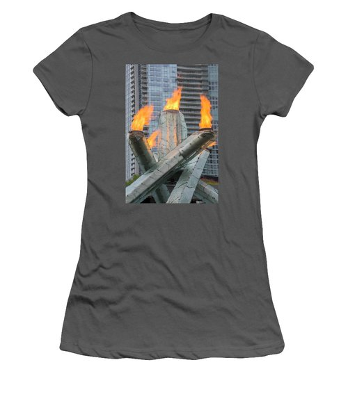 Vancouver Olympic Cauldron Women's T-Shirt (Junior Cut) by Ross G Strachan