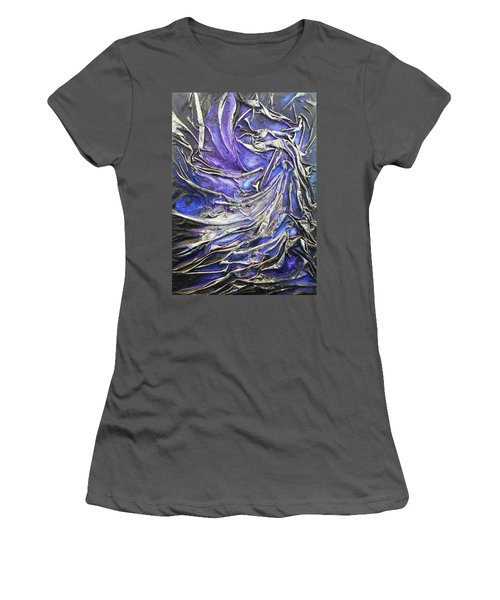 Women's T-Shirt (Junior Cut) featuring the mixed media Veiled Figure by Angela Stout