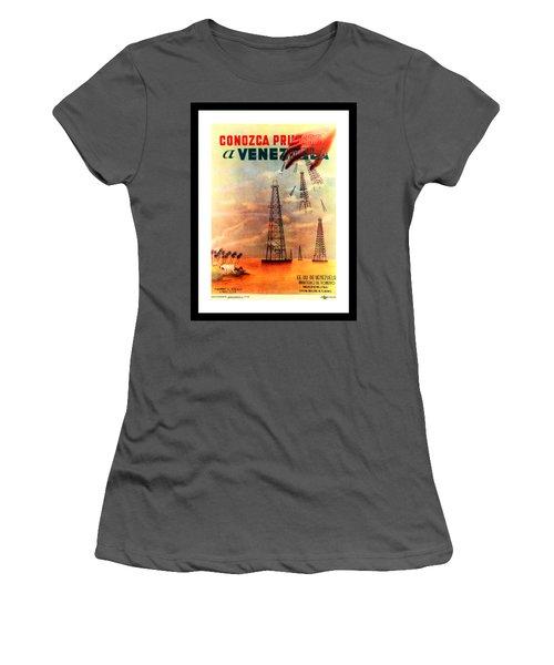 Venezuela Tourism Petroleum Art 1950s Women's T-Shirt (Athletic Fit)