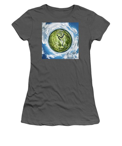 Women's T-Shirt (Athletic Fit) featuring the photograph Vernon Marsh Tiny Planet by Randy Scherkenbach