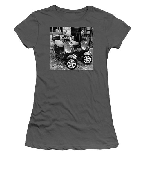 Vespa Twins Black And White Women's T-Shirt (Athletic Fit)