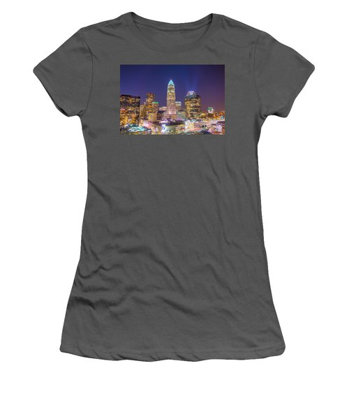 View Of Charlotte Skyline Aerial At Sunset Women's T-Shirt (Athletic Fit)