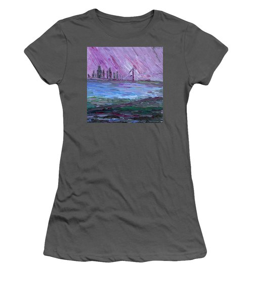 Women's T-Shirt (Athletic Fit) featuring the painting View On Manhattan by Vadim Levin